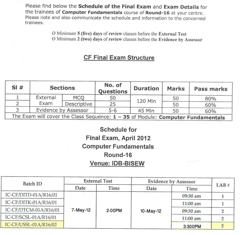 Exam Notice | bsagor's world